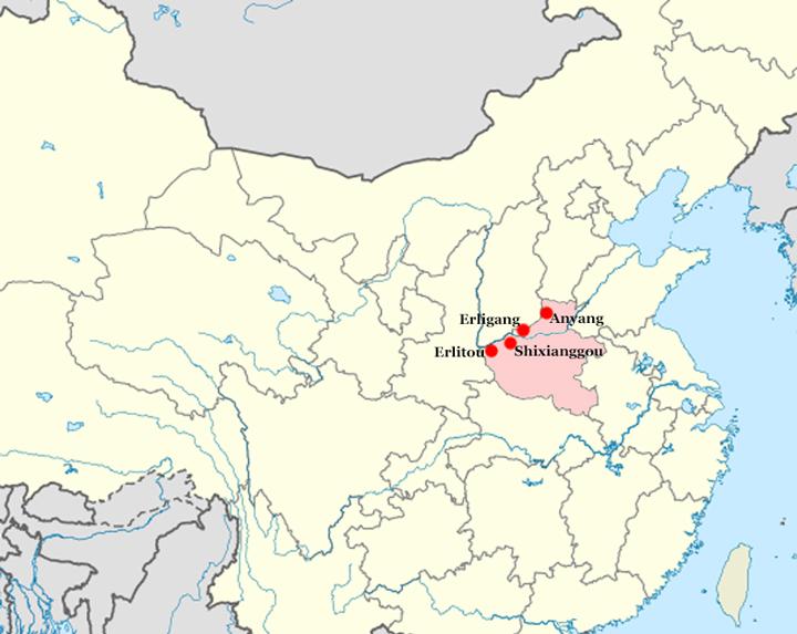 Yacimientos de Erlitou, Shixianggou, Erligang, Anyang, Dinastía Xia