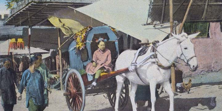 A Peking Cart with Manchu Lady, Peking
