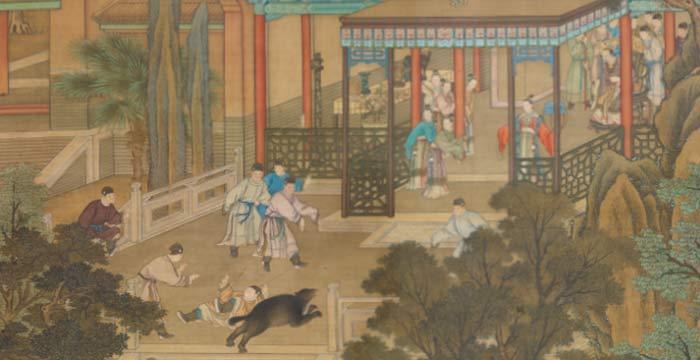 Jieyu Defending the Emperor from a Bear (S.XVIII) (arte chino en SAM)
