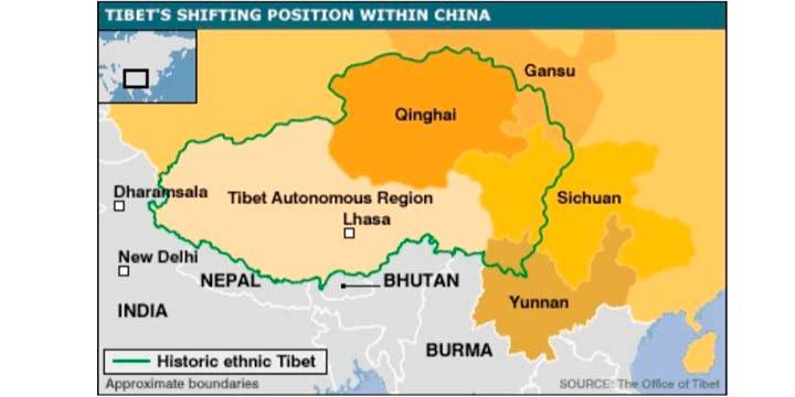 La extensión real del Tíbet mapa explicativo